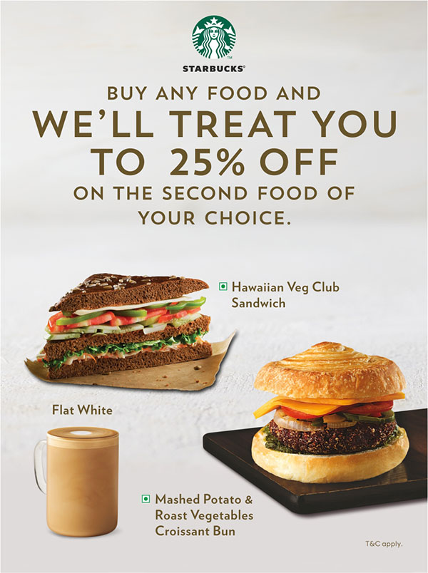 Buy any food and we'll Treat you to 25% off on the Second food of your Choice