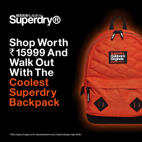Shop worth Rs 15,999 and get a Superdry backpack for free.