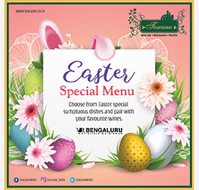 EASTER SPECIAL MENU 21ST APRIL FOR LUNCH AND DINNER
